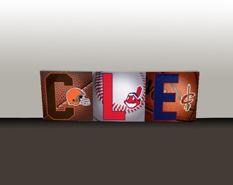Cleveland Sports Letters Presented on an Art Box Frame 9.5x26""