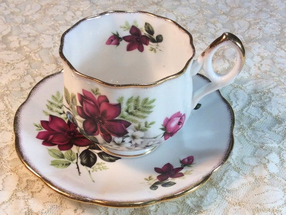 Vintage Rosina Footed Tea Cup and Saucer Pattern 5987