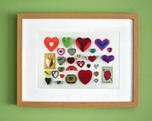 Limited Edition Romantic Hearts Collage Print With Mount. Original, Vintage-Themed, Unframed