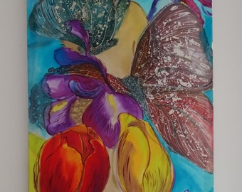 Tulip Painting on silk Original Artwork Woman Butterflies Irises Flowers Exclusive gift Hand Painted Silk Spring Wedding Home Decor