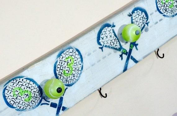 kids custom bedroom wall art /teen athlete sports team gift 4 hand-painted tennis ball knobs 5 hooks /wall coat rack reclaimed wood decor