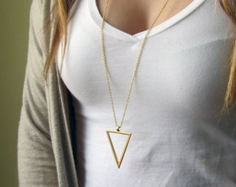 Gold Geometric Necklace - Minimal Delicate Necklace - Long Geometric Necklace - Gold Long Necklace , Triangle Necklace , Layering Necklace