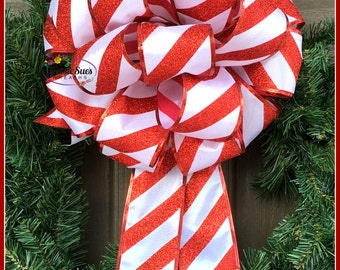 Christmas Candy Cane Bow, Lantern Bow, Package Bow, Gift Bow, Designer Bow, Wreath Bow, Party Bow, Basket Bow, Christmas Bow, Stair Rail Bow
