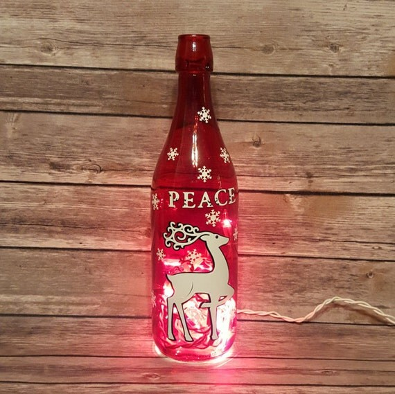 Christmas Lighted Wine Bottle