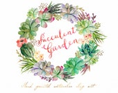 Watercolor Succulent wreath-Succulent Garden/Individual PNG files / Hand Painted/Wedding