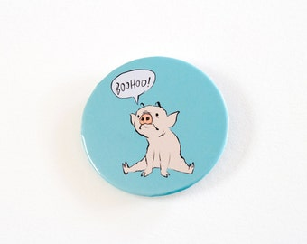 Sad Pig Pinback Button