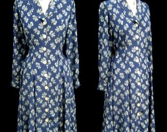 """Vintage 90s J. PETERMAN All SILK Floral Print Romantic DRESS Button Front Tie Back Modest Bust 38"""" Size 4"""