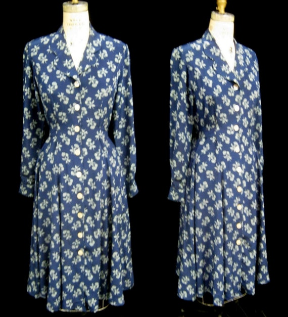 "Vintage 90s J. PETERMAN All SILK Floral Print Romantic DRESS Button Front Tie Back Modest Bust 38"" Size 4"