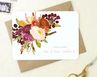Gifts for the Newly Engaged. Thank You Notes Wedding. Personalized Floral Thank You. Mr and Mrs Card Set. Floral Wedding Notecards.