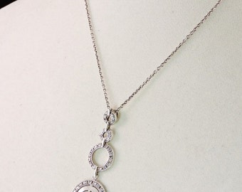 """Sterling Silver And Rhinestone Pendant Necklace 16"""" - 18"""""""