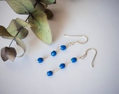Blue sterling silver earrings czech glass handmade Valentine's gift Mother's day gift
