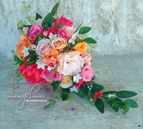 5 Wedding Bouquet Etiquette Questions You Need To Read: Cascade Bouquet Coral Peach Pink CORAL CHARM Bouquet