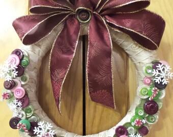 """12"""" Round Button Wreath"""
