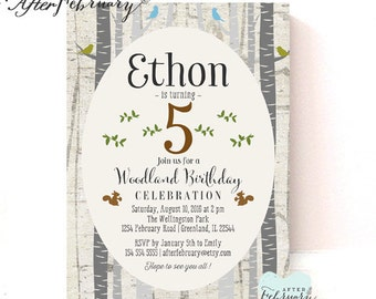 Boy Woodland Birthday Invite // ANY AGES // Rustic Forest Birthday Invitation // Toddler Boy Birthday Party Invite // Printable No.86KIDS
