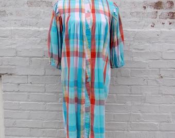 Vintage Plaid Nightgown 1960s