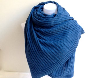 True Blue Winter Wedding Shawl, Steel Blue Bridal Shawl, Fall Winter Wedding Wrap, Blue Knit Scarf, Soft Cozy Cover Up,  Bridesmaids Gift
