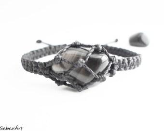 Mens bracelet, apache tear obsidian, obsidian bracelet, stones for healers, protection stone, protection bracelet, obsidian jewellery