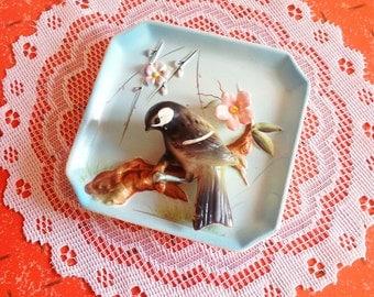 Cute vintage Japan 3D bird ceramic wall hanging