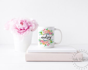 Personalized Mug | Bridesmaid Gift | Spring Watercolor Floral | Name Mug | Personalized Gift | Friend Gift | Gift for Women | Under 50