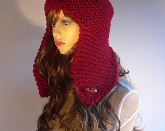Womens Knit Hats Trapper Hat Aviator Hat Ear Flap Hat Winter Accessories Hand Knit Hat Red Knit Hat Red Hat Knit Hood