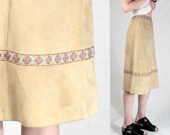 DEERSKIN SUEDE 1970s suede skirt XS/Vintage 70s skirt women mod 60s boho skirt/Tan real leather skirt midi/beige embroidered nordic hippie