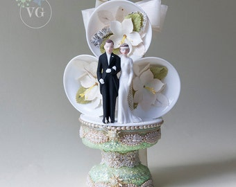 Art Deco Wedding Bells Cake Topper Cultured Pearls, Seashells and Mint Blossom Base Vintage 1930's Wedding Cake Topper 1930s Wedding Gown