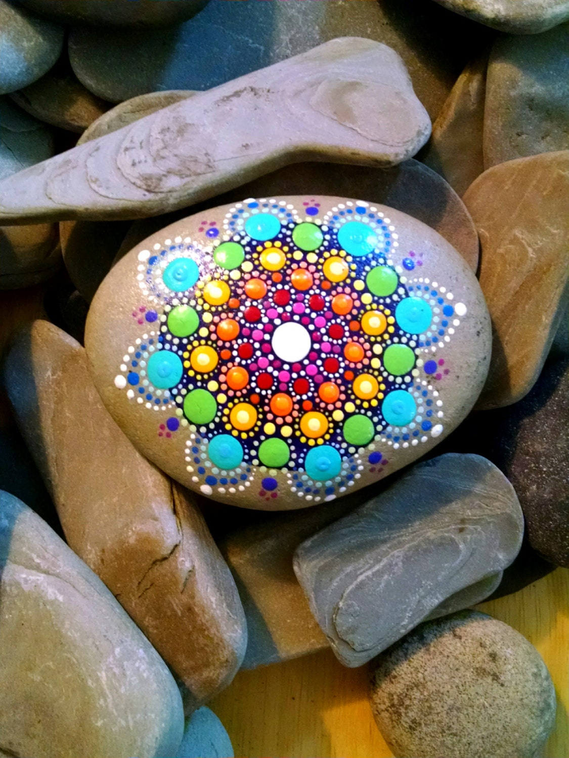 Large Hand Painted Beach Stone Rainbow Painted Rock