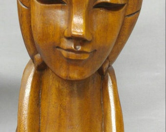 Old vintage hand carved wooden woman Madonna figure bust statue monkey pod wood carving
