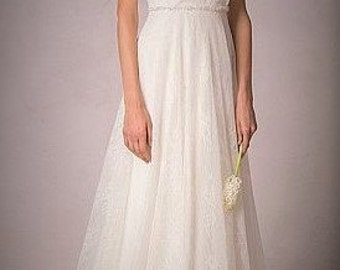 Made to Measure - SOFT WHITE Vintage Style Lace & Satin Convertable Wedding Dress