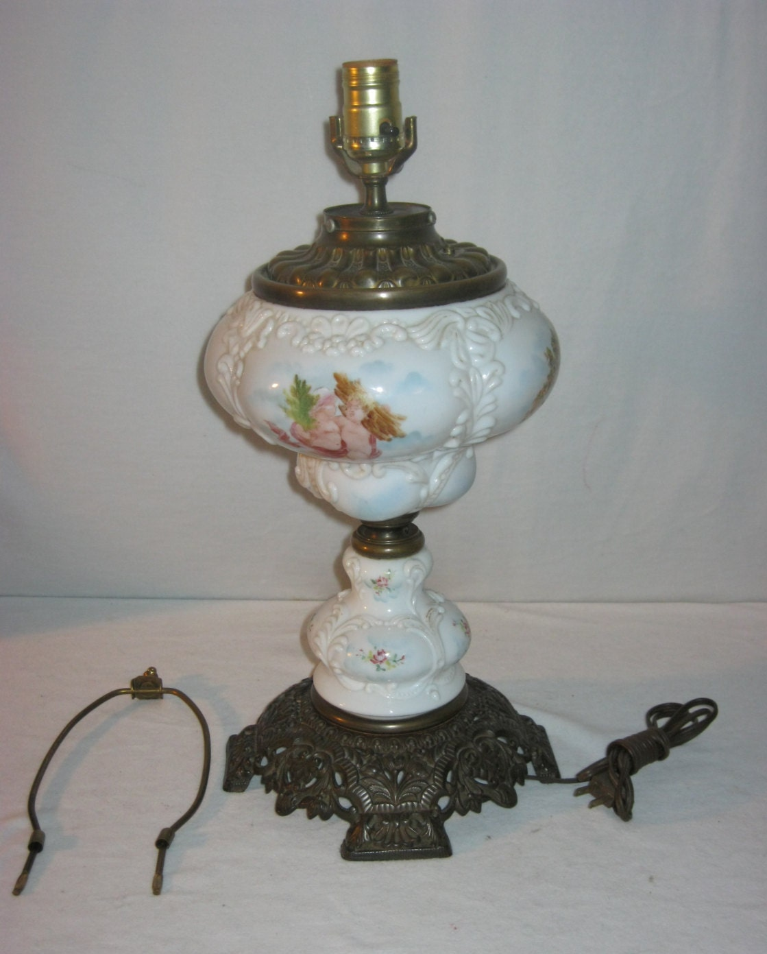 antique oil lamp milk glass lamp antique by fremarstreasures