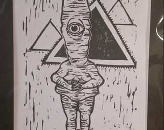Cyclops Creature Linocut, Monster Block print, Unique Wall Decor