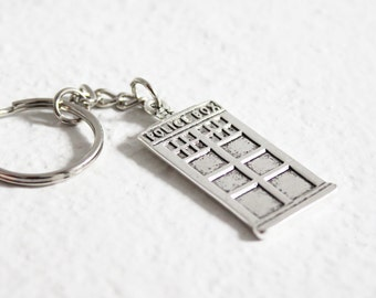 Doctor Who inspired keychain, TARDIS keyring