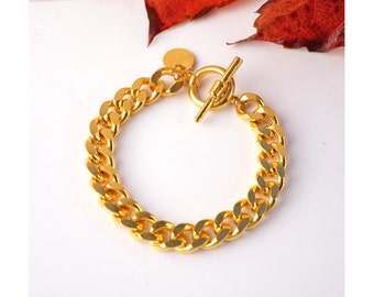 Chain Bracelet, pink gold plated