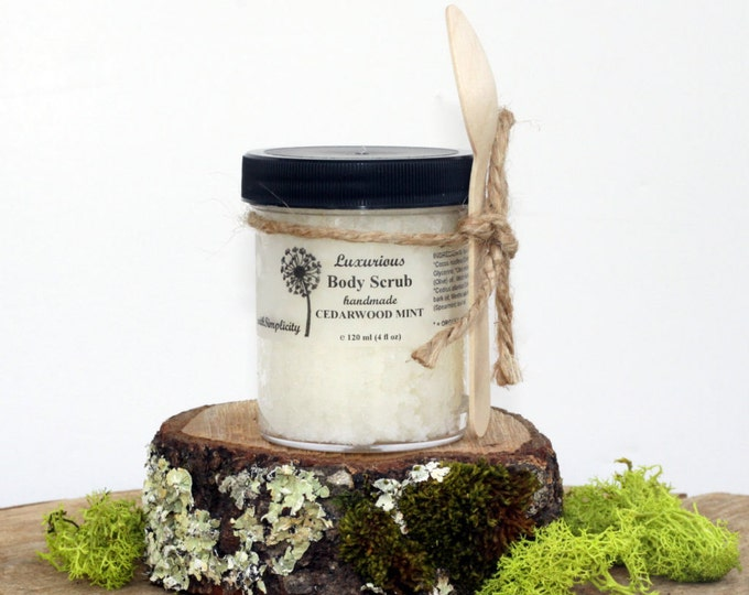 Body Scrub, Cedarwood Mint  Cleanse  Exfoliate  Sea salt Organic Oils, Vegan