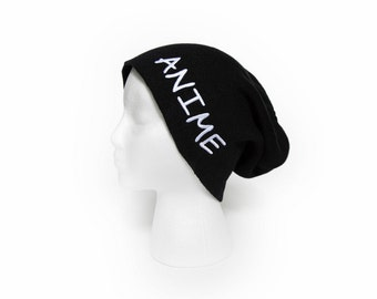 Slouchy Beanie with word Anime Embroidered Beanie Hat