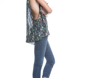 Loose Sheer Top Tank Oversize Chiffon Floral Parrot Print Slouch Summer Blouse