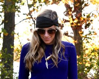 Buy 2 get 1 FREE!! Black Yoga Twist Headband, Yoga Headband, Boho Hair band, Twist Headband, Twist Headwrap, knot headband
