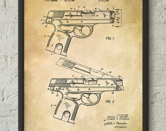 Smith & Wesson. Semi-Automatic Pistol. Patent Print. 1998 Pistol Design. Vintage Poster. Patent Wall Art Print #336 - INSTANT DOWNLOAD