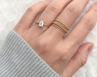 White Sapphire Ring, 14K ring, Unique engagement ring, Diamond alternative ring, Solid gold ring
