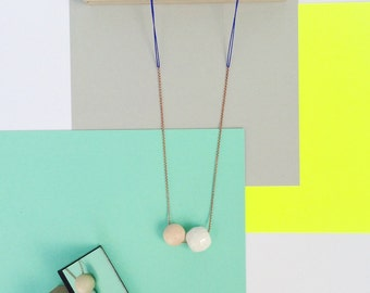 Ceramic and wooden bead necklace // Faceted white ceramic bead necklace // copper chain necklace // blue string
