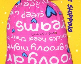 pillow, bright pink pillow bag