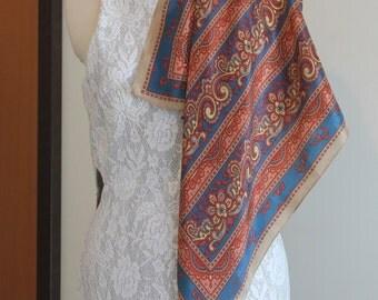 ANNE KLEIN 100% silk scarf in blue, red, coffee - floral, paisley design - original, genuine, designer