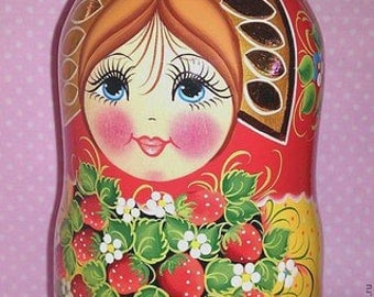 Set of 10 (9,8in) Wooden Russian Nesting Dolls - Matryoshka  Nesting Wooden Doll