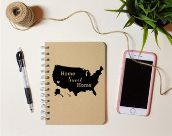 Personalized Writing Notebook | Home Sweet Home | Handmade