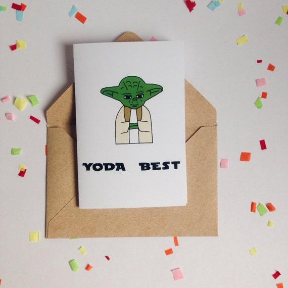 Yoda Best Star Wars Pun Star Wars Card Yoda Card By