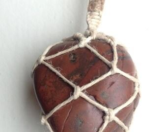Beating Heart River Stone Pendant
