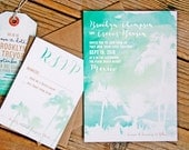 Wedding Invitation - Tropical Watercolors - Palm Tree with Water Color Sunset Design - Mexico, Hawaii, Island Wedding - Design Fee