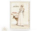 Christmas card, Jane Austen card, deer card, woodland, dreaming, white Christmas, reindeer, red berries, robin, Regency card, holiday card
