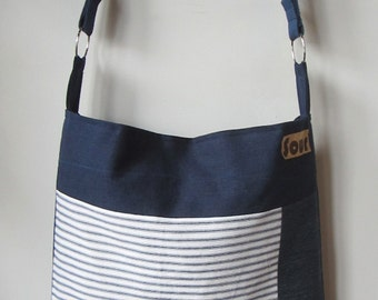 ON SALE On My Way Navy Blue, Striped, Denim and Rust Shoulder Bag with metallic rings