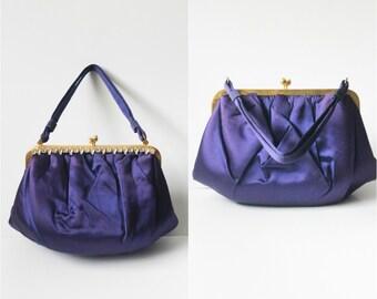 Vintage 1950s Kelly Bag / 50s Top Handle Handbag / Satchel Purse / Retro 50s Purse / Royal Purple Formal Evening Bag